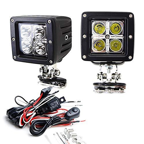 T-rex Nitro 450 (iJDMTOY A-Pillar LED Pod Light Kit Fit For Many Truck SUV 4x4 ATV UTV etc, Includes (2) 20W High Power CREE LED Pod Lights, A-Pillar Metal Mounting Brackets & Switch Wiring Relay)