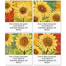 "Jardin Du Soleil Square Return Address Labels (4 Designs) - Set of 144 1-1/2"" x 1-3/4"" Self-Adhesive, Flat-Sheet labels"
