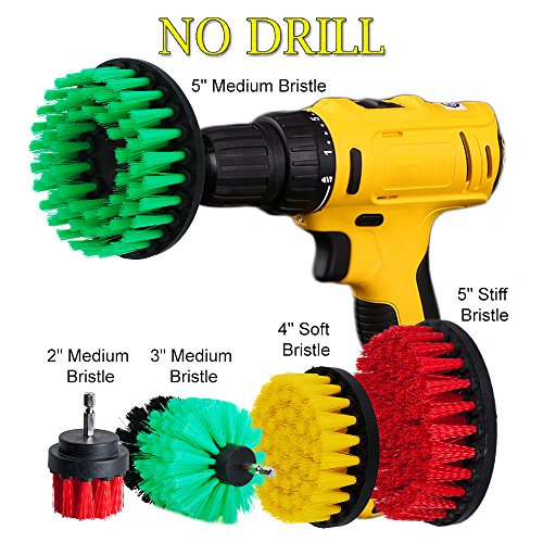 HIFROM 2 3 4 5inch Drill Brush Soft Medium Stiff Bristle Powered Scrub Attachments Cleaning Kit for Bathroom Shower Tile Grout Carpet Tires Boats Kitchen Glass Carpets Upholstery (Fireplace Glass Door Enclosure)