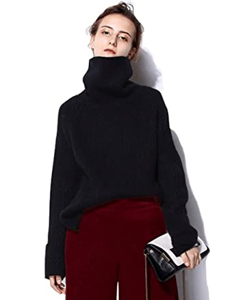 1931ada88e5 RanRui Women s Oversized Tunic Sweater Dress for Pants Cashmere Sweater  Chunky Knit (One Size