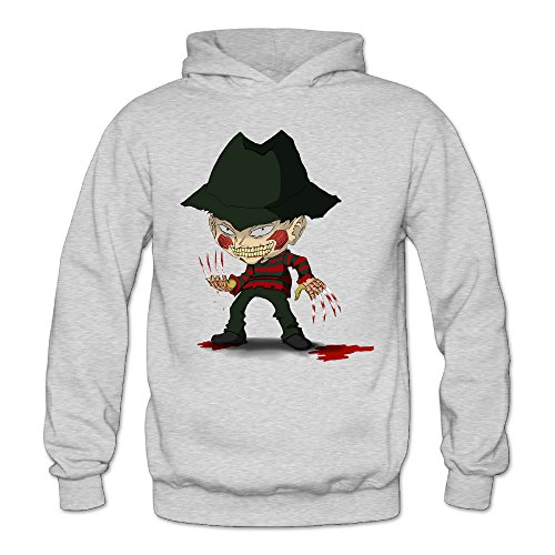Billion Dollar Baby Costumes (MARC Women's Nightmare On Elm Street Freddy Krueger Pizza Hoodie Ash Size L)