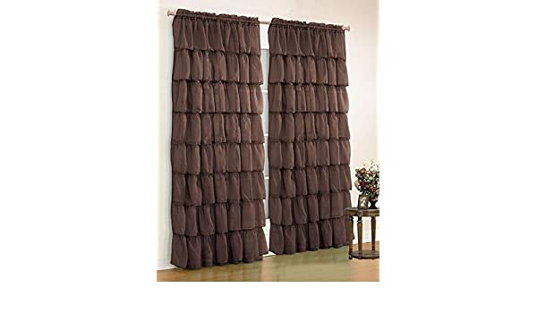 Amazon.com: Orlys Dream Gypsy Crushed Ruffled Sheer/Voile 2 Curtain Panels - Total of 110 Inch Width By 84 Inch Length (Coffee Brown): Home & Kitchen