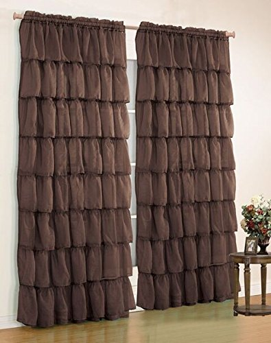 Orlys Dream Gypsy Crushed Ruffled Sheer/Voile 2 Curtain Panels - Total of 110 Inch