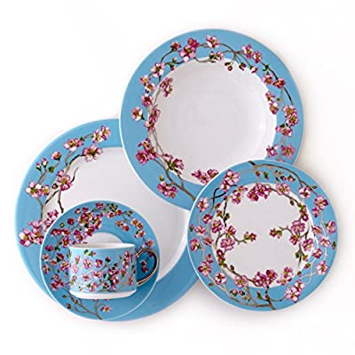 CRU by Darbie Angell Madison's April in NY 5 Piece Place Setting Dinnerware Set, Sea Blue/Pink/Platinum/White - 5-Piece place setting-one dinner plate, one salad plate, one rim soup bowl, one cup, once saucer Hand painted accents of platinum Part of the proceeds from each piece bought go to pediatric cancer research - kitchen-tabletop, kitchen-dining-room, dinnerware-sets - 51lX5a yjCL. SS400  -