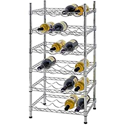 """Muscle Rack WBS181435 24-Bottle Chrome Wine Rack, 18"""" by 14"""" by 35"""", 35"""" Height, 18"""" Width, 660 lb. Load Capacity"""