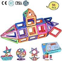 Bloques de Construcción Magnéticos 94 Piezas Juguete Construcción, LeeHur Juguetes Creativos y Educativos, Mejor Regalo para Niños Mayores de 3 años Aprenda El Color y La Forma
