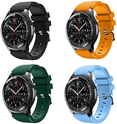 XIHAMA Band for Samsung Gear S3 Frontier/Classic, Universal 22mm Quick Release Wristband Silicone Replacement Strap (B set(4pcs))