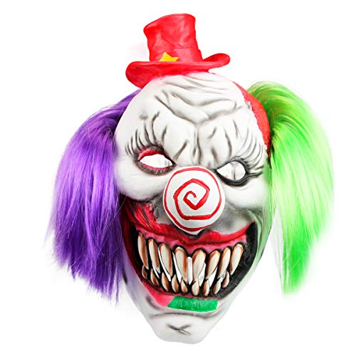 Libay Halloween Scary Clown Mask, Latex Head Mask Halloween Costume Party Cosplay Props Horrific Demon Clown Mask for Adults (Red Hat Clown) -