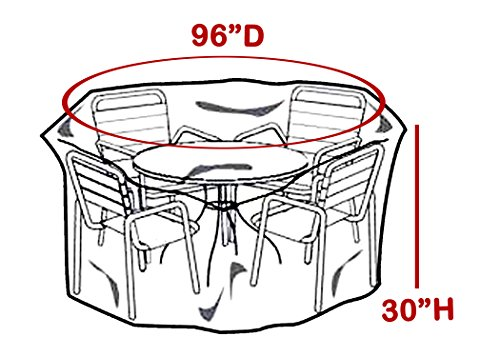 LAMINET Crystal Clear Heavy-Duty Waterproof Plastic Outdoor Furniture Cover - Round Table Cover - 3 Season Protection - Keep Rain, Snow & Debris Off! Premium Protection at Economy Price! (Round Plastic Price Table)