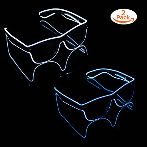 Blazing Fun El Wire Glow Glasses Led DJ Bright Light Safety Light Up Multicolor led Flashing Glasses with 4 Modes for Halloween Christmas Birthday Party (Blue+White) by Blazing Fun