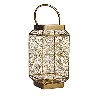 Elements LED Indoor String Light Lantern, 13-Inch, Copper