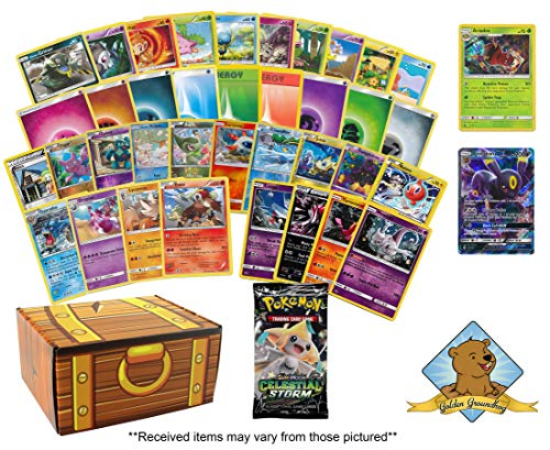 120 Pokemon Card Birthday Bundle! 90 Common and Uncommon Cards - 10 Energy - 10 Foils - 4 Promos - 1 Holo Rare - 4 Rares - 1 GX Rare! 1 Pokemon Booster Pack! Includes Golden Groundhog Treasure Chest