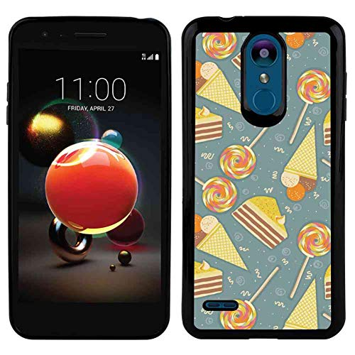 TPU Phone Case Fit for LG K8 2018 (5 Version) Ice Cream Ice Cream Cones Candies Lollipops Images with Blue Grey Backdrop Image Artwork Multicolor