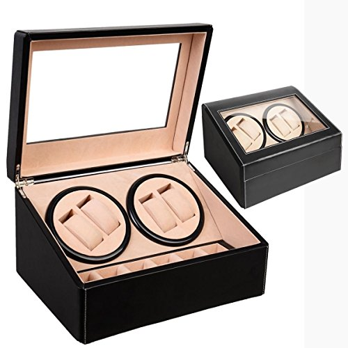 4+6 Automatic Rotation Leather Wood Watch Winder Storage Display Case Box Black Finished with smooth lines and beautiful craft Smooth opening hinged lid