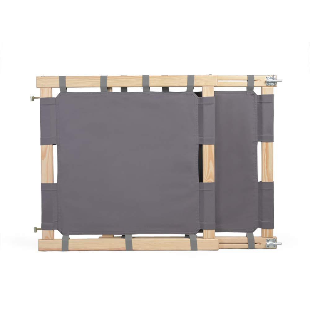 Treppenschutzgitter f/ür Kinder ohne Plastik 100/% ECO Made in EU Kindersicherung Treppe mit einem Baumwolltuch Natural Modern Haltbar Treppengitter Holz und Baumwolle