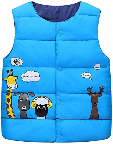 Newborn Infant Baby Boys Girls Cotton Vest Waistcoat Coat Sleeveless Animal Print Jacket
