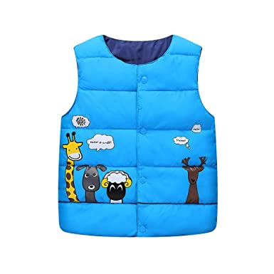 9201bd047a Amazon.com  AMSKY Kids Winter Zipper Vest Coat Cartoon Animal Print ...