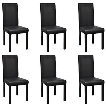 Sedie In Pelle Per Sala Da Pranzo.Vidaxl 6 Pz Sedie Per Sala Da Pranzo In Pelle Artificiale Nere