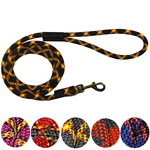 Downtown Pet Supply DTPS, Durable Dog Rope Leash, 6' & 3' feet, Colors Black, Red, Blue, Grey, Orange & Purple, Mountain Climbing Rope Leash