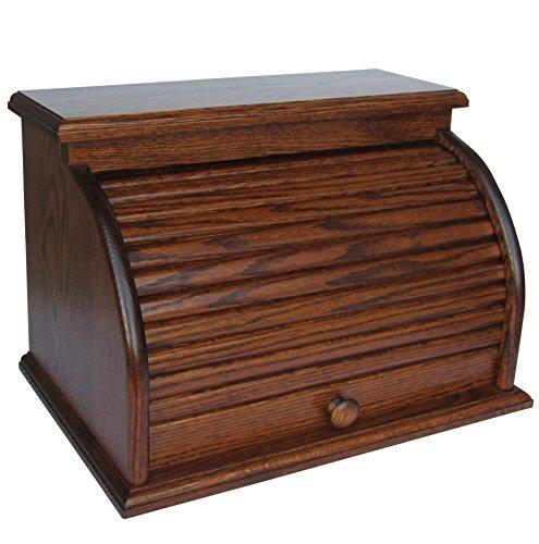 - Roll Top Bread Box Amish Handcrafted Storage Oak Bin Wooden