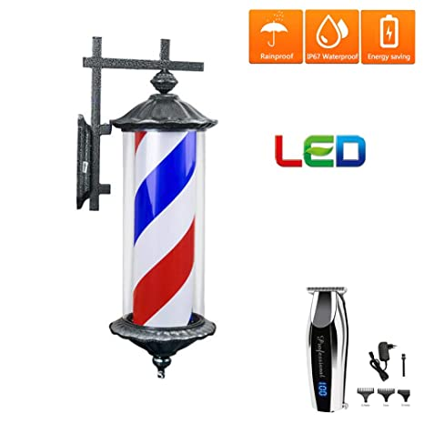 Al aire libre Giratorio Poste de Barbero LED,Impermeable Luminoso ...