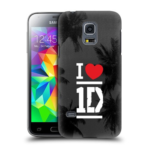 Official One Direction 1D White On Grey I Love One Direction Hard Back Case Cover for Samsung Galaxy S5 mini G800F Duos G800H (One Direction S5 Cover compare prices)
