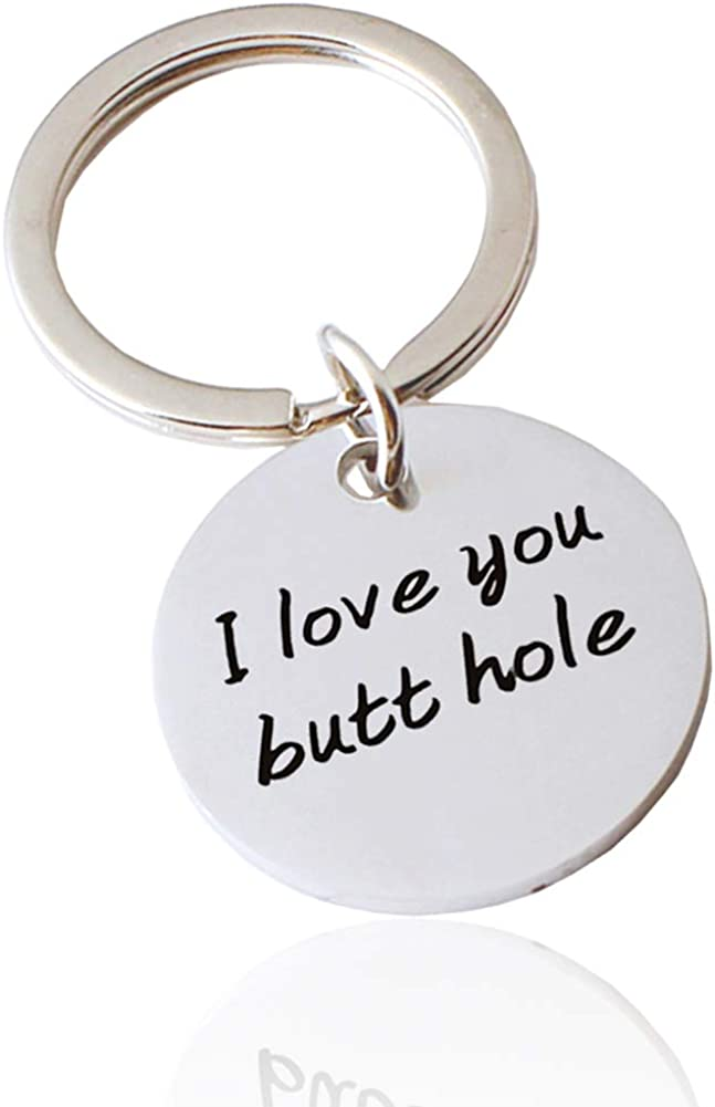 Anniversary,Christmas Birthday Keychain Gift for Him Funny Gag Dirty I Love You Butt Hole Key Ring Couple Boyfriend Husband Fiance Jewelry Present for Valentine