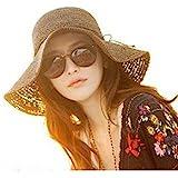 luzen Women Girls Foldable Bohemia Wide Brim Roll-up Crocheted Straw Hat Beach Sun Visor Cap for Holiday Travel