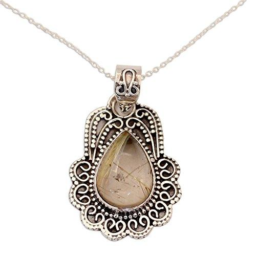 (NOVICA Rutile Quartz .925 Sterling Silver Pendant Necklace, 17.75