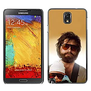 Qstar Arte & diseño plástico duro Fundas Cover Cubre Hard Case Cover para SAMSUNG Galaxy Note 3 III / N9000 / N9005 ( Family Portrait Child Man Beard Sunglasses)