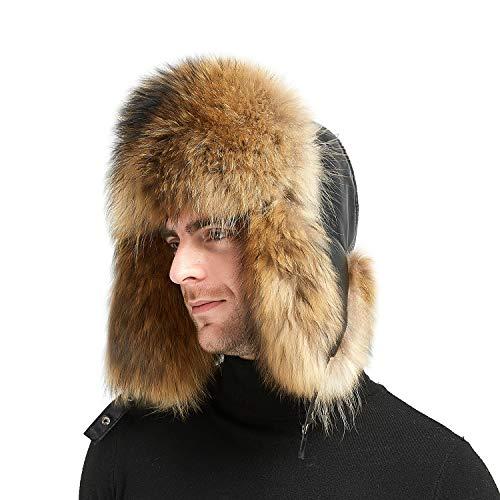 IKEPOD Sheep Leather Aviator Ushanka Winter Raccoon Fur Men Ear Flap Trapper Hat