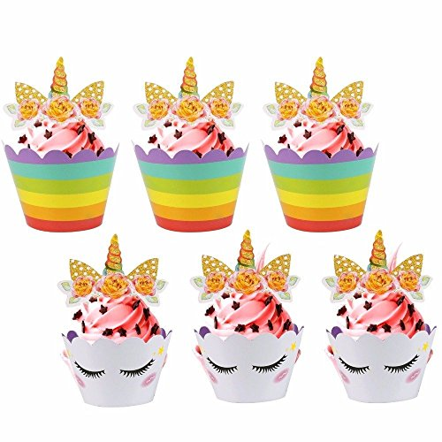 SmartyParty Rainbow Unicorn Cupcake Wrappers and Golden Glitter Cupcake Toppers - Set of 24 Unicorn Themed Decorations for Baby Shower, Birthday Parties, Unicorn Party Theme, Weddings, DIY Baking -