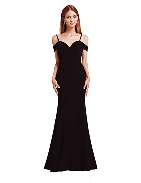 6a7503c4ff Ever Pretty Women s Sexy V Neck Off The Shoulder Floor Length Party Dresses  Black 8UK