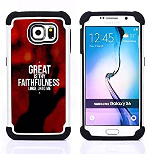 GIFT CHOICE / Defensor Cubierta de protección completa Flexible TPU Silicona + Duro PC Estuche protector Cáscara Funda Caso / Combo Case for Samsung Galaxy S6 SM-G920 // BIBLE Great Is Thy Faithfulness //