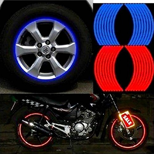 Quaant Car Sticker,18 Strips Car Styling Motorcycle Automobiles Wheel Tire Sticker On Car Rim Tape Car Sticker Parking Accessories (Blue)