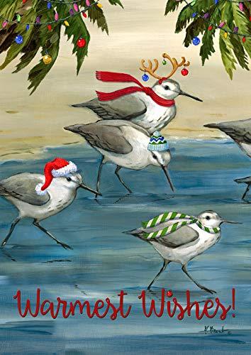 (Toland Home Garden 1112264 Silly Sandpiper Christmas Garden Flag (12.5 x 18-Inch), (12.5