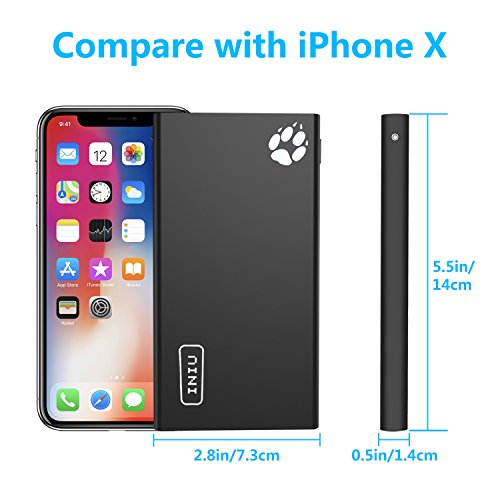 INIU 10000 mAh Portable Power Bank 2 USB Ports Mobile Charger External Battery Backup Ultra Compact Slim Powerbank for iPhone X 8 7 6s 6 Plus 5s 5 Samsung Cell Phone
