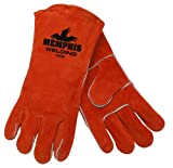 MCR Safety 4300 13-Inch Memphis Split Cow Leather Welder Gloves with Cotton Drill Lining, Russet/Brown, Large, 1-Pair