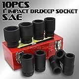 Generic c Tools SAE/4'' to 1 5/8'' Size 3/4'' to 1 5/8'' 10pc 1'' Black Impact Mechanic Deep Sockets Set Tools SAE 10pc 1'' Black Impa