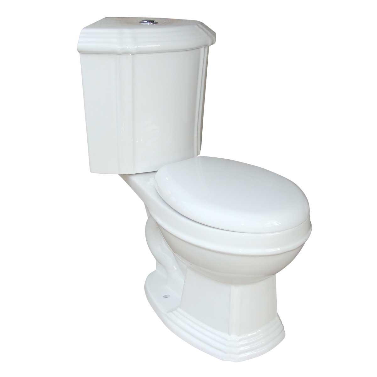 White Ceramic Round Space Saving Dual Flush Corner Toilet Renovator's Supply by Renovators Supply Manufacturing