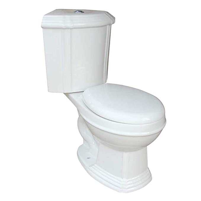 4. Renovator's Supply Ceramic Round Space Saving Dual Flush Corner Toilet