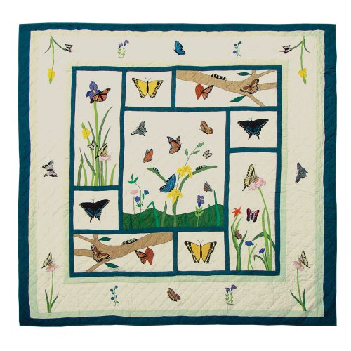 (Patch Magic Twin Butterfly Kisses Quilt, 65-Inch by 85-Inch )