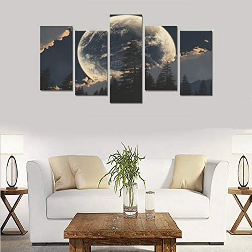 Custom Made sci fi planets moon skies clouds forest scenic Canvas Prints Bedroom or Living Room Features Decorative Murals 5 Oil Paintings on Canvas (No Frames) by Personalized Canvas Printing
