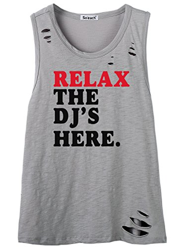 So'each Women's Relax The Dj's Here Graphic Hole Tee T-Shirt Cami Tank Top