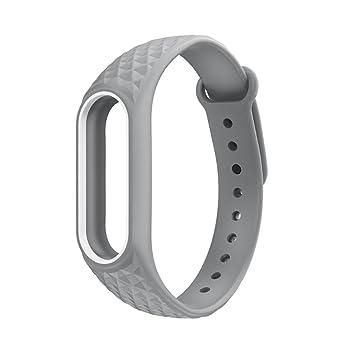 Fossen Diamante patrón Pulsera de Reloj Reemplazo Banda Correas para Xiaomi Mi Band 2 (Gris): Amazon.es: Deportes y aire libre