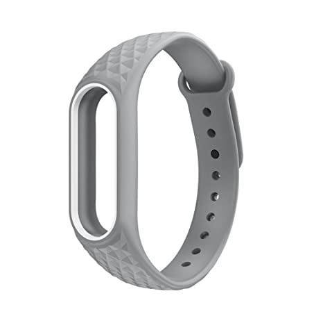 Fossen Diamante patrón Pulsera de Reloj Reemplazo Banda Correas para Xiaomi Mi Band 2 (Gris