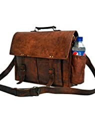 Messenger of Leather Handmade Vintage Leather Briefcase for Men & Women. 11 x 15 x 4.5