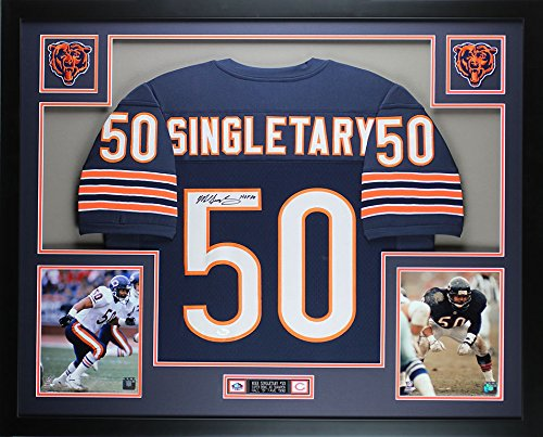 Signed Hand Bears (Mike Singletary Autographed Blue Bears Jersey - Beautifully Matted and Framed - Hand Signed By Mike Singletary and Certified Authentic by JSA COA - Includes Certificate of Authenticity)