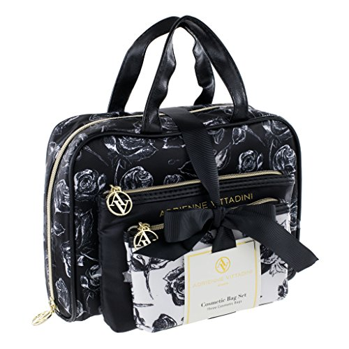 adrienne-vittadini-set-of-3-satchel-cosmetic-cases-black-and-white-floral