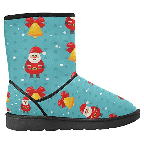 InterestPrint Womens Snow Boots Unique Designed Comfort Winter Boots Merry Christmas and Happy New Year with Santa and Jingle Bell - Raster Multi 1 n6tO2Jrsa